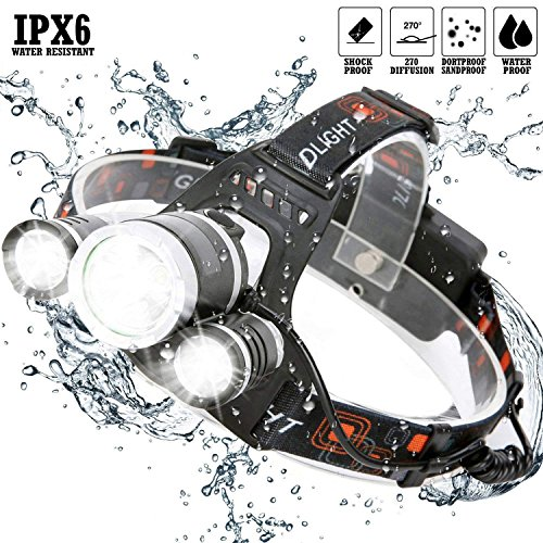 DABASO Headlamp,Adjustable Headband and 90 Degree Moving Light,Rechargeable 8000 Lumen Waterproof LED Headlight with 4 Brightness Modes for Running Camping Cycling Fishing Hunting Climbing by DABASO