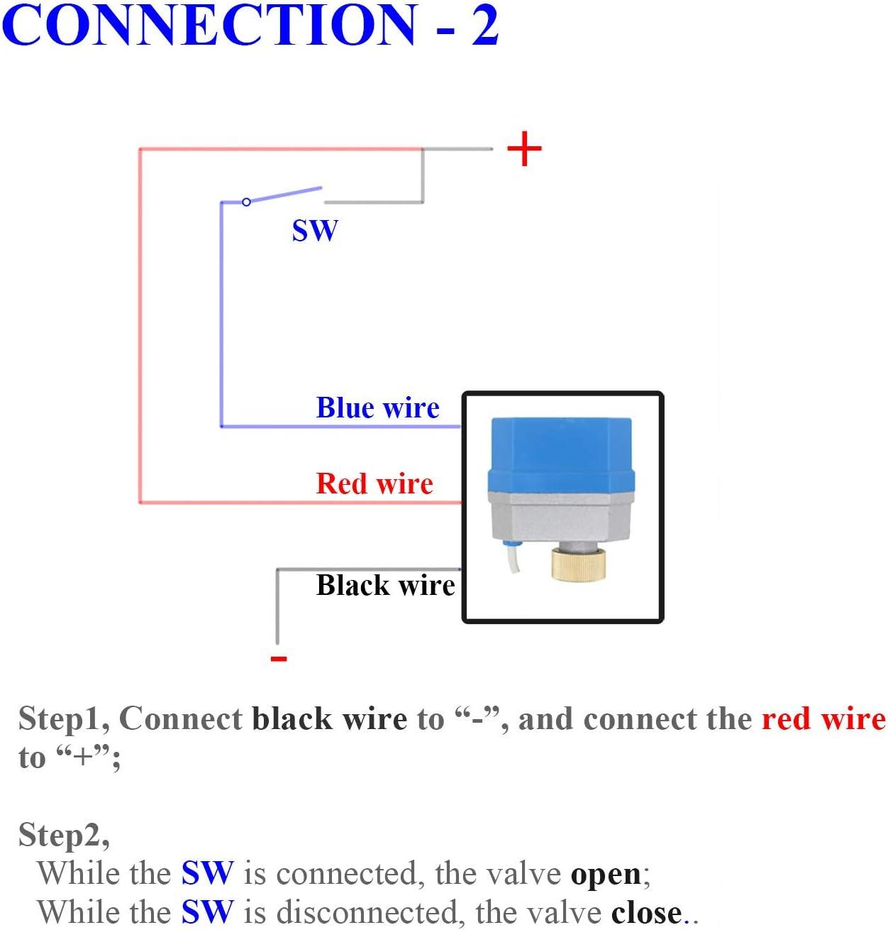 12v - 2 tipos de conexion - valvula esfera motorizada normalmente cerrado valvula 2 vias motorizada electrovalvula 12v 1/2 3/4 1 1-1/4 pulgada (1 ...