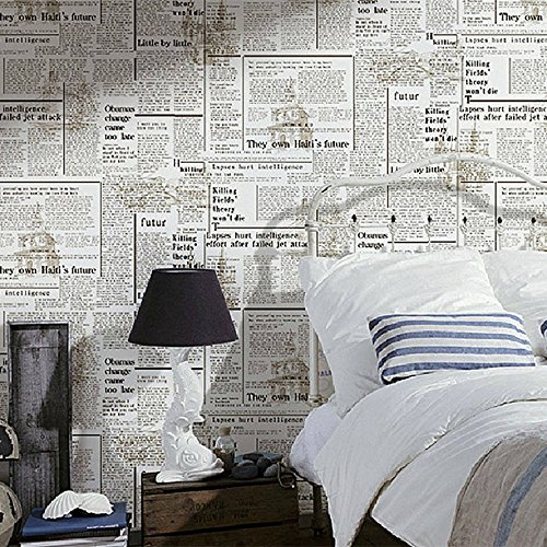 Blooming Wall Faux Vintage Newspaper Pattern Wallpaper Roll For Impressive Wall Paper Bedroom