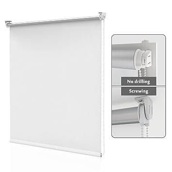 Homedemo Store Enrouleur Occultant Sans Percage 50 X 170 Cm Rideau Occultant Pour Fenêtres Et Portes Isolant Thermique Opaque Blanc
