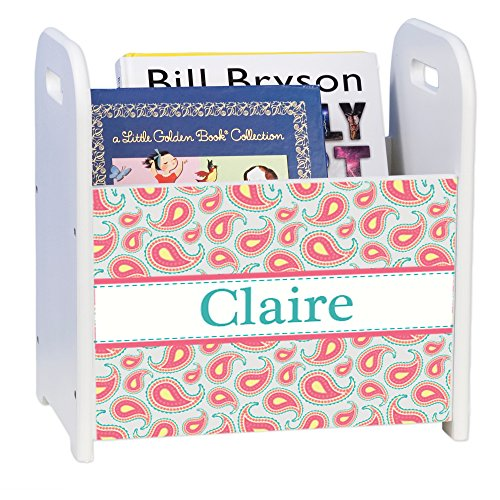 Personalized Paisley Aqua Coral White Book Caddy and Rack by MyBambino