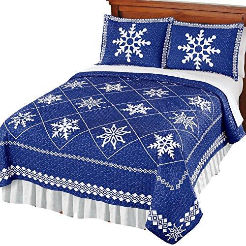 Scandinavian Snowflake Holiday Quilt, Royal Blue, King