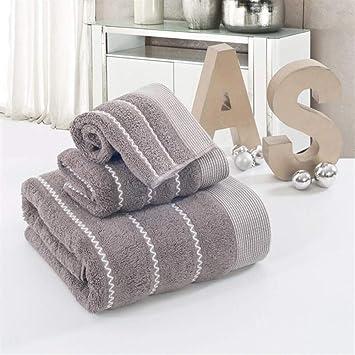 Bearony Suave Patrón de Onda toallita de algodón Toalla de Mano Toallas de baño, Juego de 3 (Color : Brown): Amazon.es: Hogar