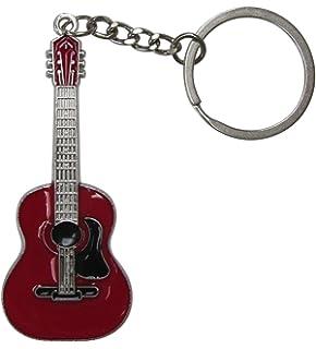 Llavero de Acero Plateado Estilo Guitarra acùstica. (Rojo)