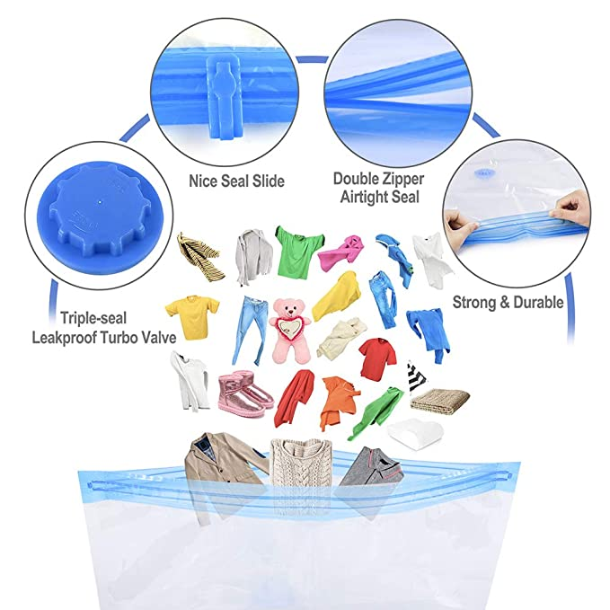 Amazon.com: Tinbrot Vacuum Storage Bags Premium Space Saver Bags for Clothes & Comforters with Free Travel Hand-Pump, 8-Pack Reusable Vacuum Seal ...