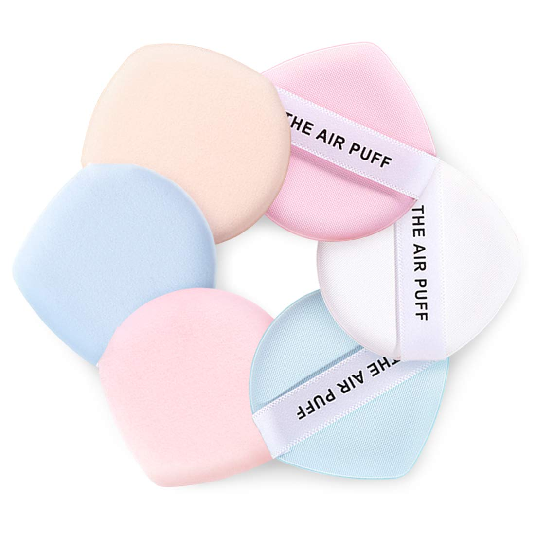 Kalevel 6pcs Air Cushion Puff Foundation Sponge Water Drop Face Powder Puffs Latex Free Makeup Sponges 2 Inch Small Powder Cosmetic Puff Pad BB Cream Sponge for Dry & Wet Use (Mixed Colors)
