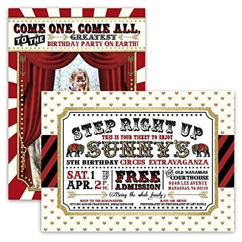 Image Unavailable Not Available For Color Customized Carnival Circus Glitter Birthday Party Invitations In Red Black And Gold
