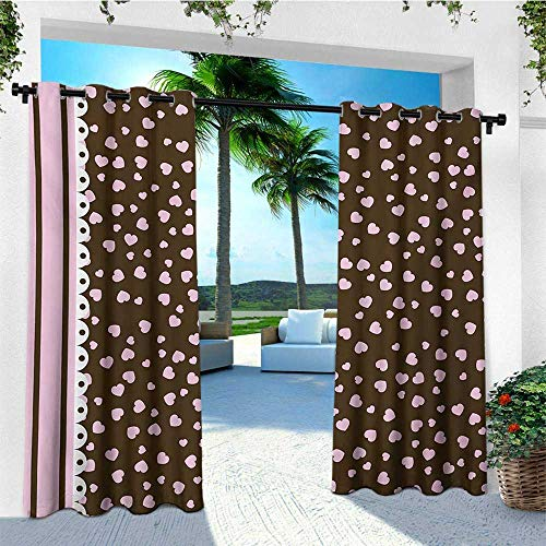 (leinuoyi Chocolate, Outdoor Patio Curtains, Lace Stripe Heart Filled Romantic Pattern on Abstract Brown Background, for Patio Furniture W84 x L108 Inch Pale Pink Brown White)