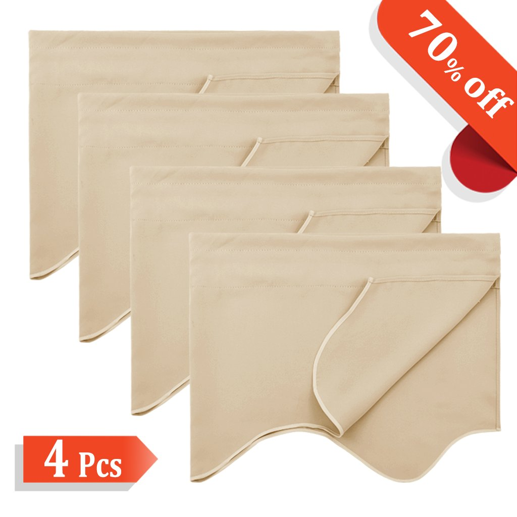Beige Room Darkening Window Valance - NICETOWN Solid Thermal Cafe Store, Package of 4 Panels