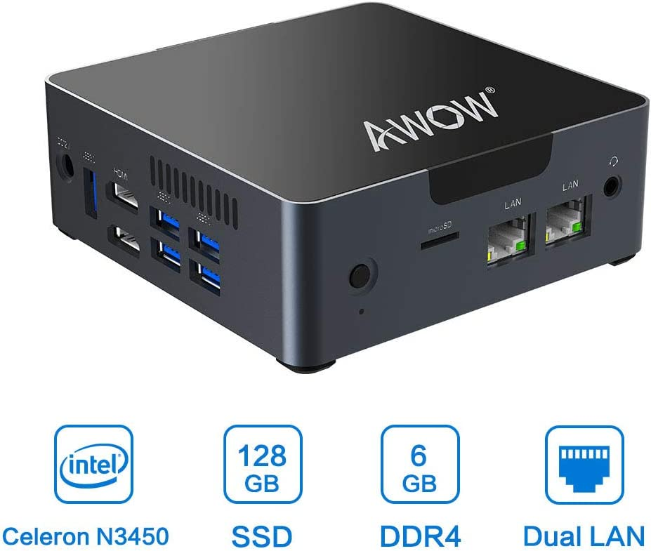 Mini PC 6GB DDR4 AWOW Desktop Computer Windows 10 Intel Celeron N3450 128GB SSD/Dual LAN/ 2.4G+5G Dual Band WiFi/4K HD/Bluetooth/HDMI
