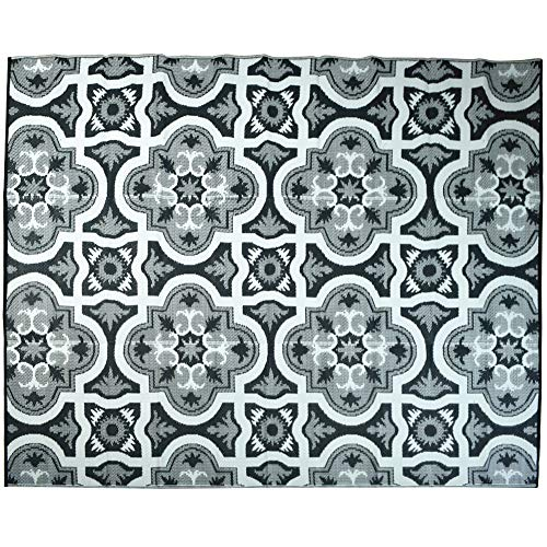 - Smart Design Reversible Outdoor/Indoor Plastic Rug/Mat- Mold and Mildew Resistant, Easy to Clean and Fold,Perfect for RV,Deck,Patio,Camping,Pianic and Beach.(Black +Grey,8x10 feet