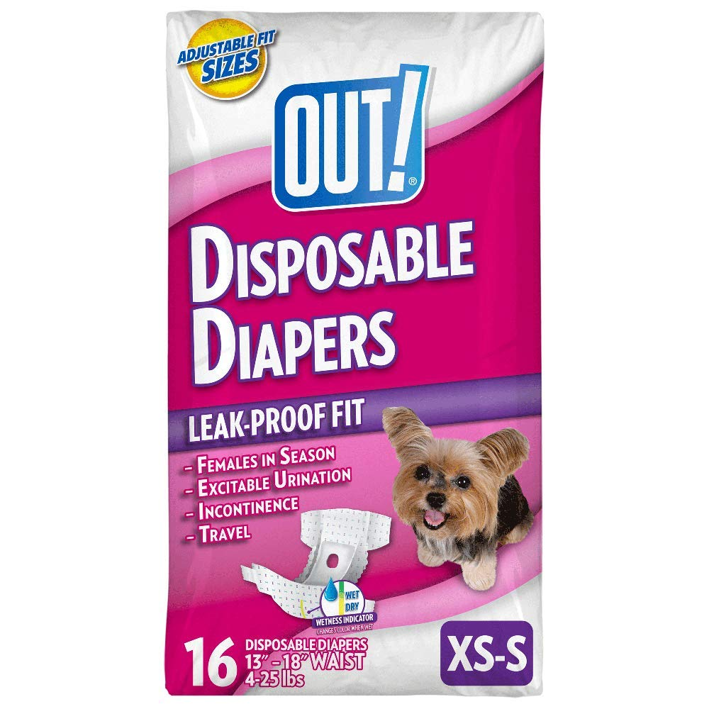OUT! Disposable Female Dog Diapers | Ultra-Absorbent, Leak-Proof Disposable Dog Diapers (XS/S, 16 ct)