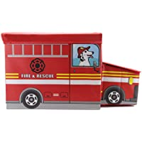 Wonderful Think Red Storage Toy Box - Folding Storage Organizer with Foam Cushion Seat Perfect Size Storage Collapsible Chest (Fire and Rescue Truck)