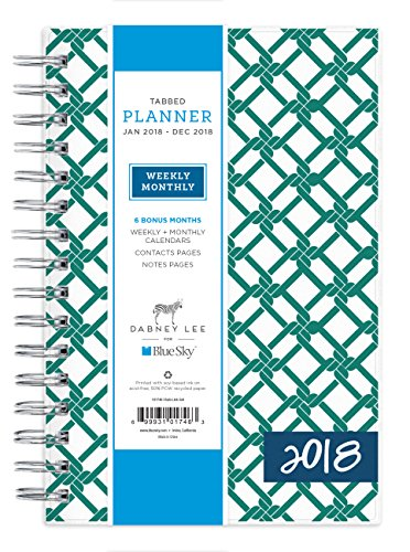 "Blue Sky Dabney Lee 2018 Weekly & Monthly Planner, Twin-Wire Binding, 5"" x 8"", Chain Link"