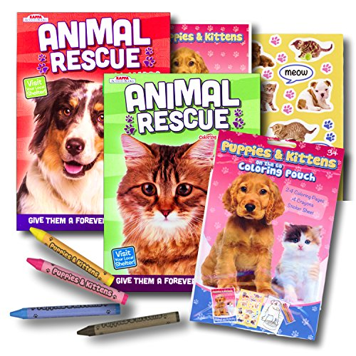 Rescue Pets Dogs and Cats Coloring Book Set with Take-N-Play Set - (Rescue Cat)