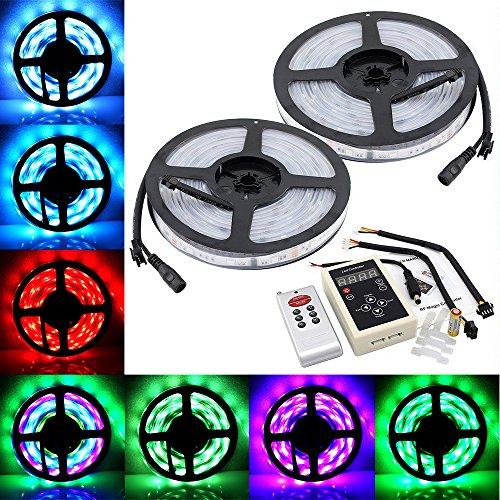 Ybencon 32.8ft 10M SMD 5050 Dream Magic RGB Color LED Color Flexible Light Strip IP67 Water-resistant + IC6803 IC Chip + 133 Change RF Remote Controller -  Ybeacon