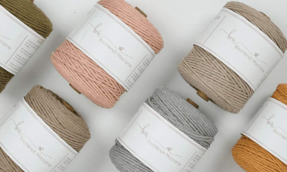 Recycled Cord For Plant Hangers Black Colors Single Strand Twist 3mm x 1000ft Craft Rope Teal Pink Wall Hangings Green +More Macrame Colored Cotton Cord Tapestry