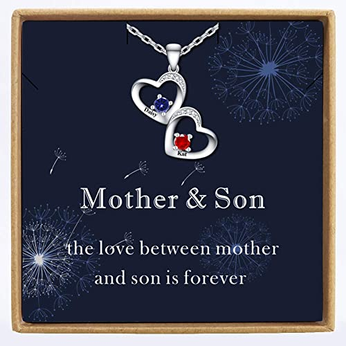 Lovenus 925 Sterling Silver Personalized Mother Daughter Necklaces with Birthstones Customized Infinity Name Necklace Custom Mom Gift for Christmas