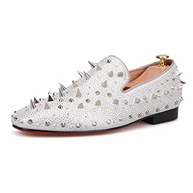 620048616781 HI&HANN Spikes and Diamonds Men's Glitter Leather Shoes Slip-on Loafer  Round Toes Smoking Slipper-12-Silver