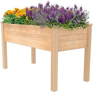 ECOgardener Raised Bed Planter, 2'x4'. Outdoor Wooden Raised Garden Bed Kit for Vegetables, Fruit, Herbs, Flowers and Plants. Elevated Design.