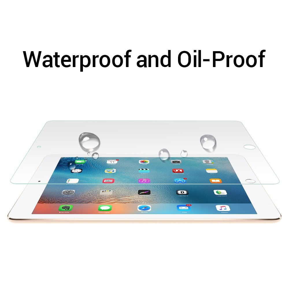 iPad 9.7 inch(2018/2017)/iPad Pro 9.7 inch/iPad Air/iPad Air 2 Glass Screen Protector, WengTech 9H Hardness Scratch-Resistant Anti-Fingerprint Tempered Glass Screen Protector