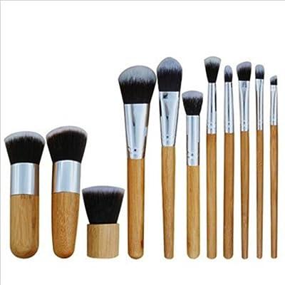 11 piezas Madera natural Pincel de maquillaje Establecer Profesional Antibacteriano Hecho por el hombre Fibra Cerdas Blush Ojo Labio Mixto Maquillaje Herramientas