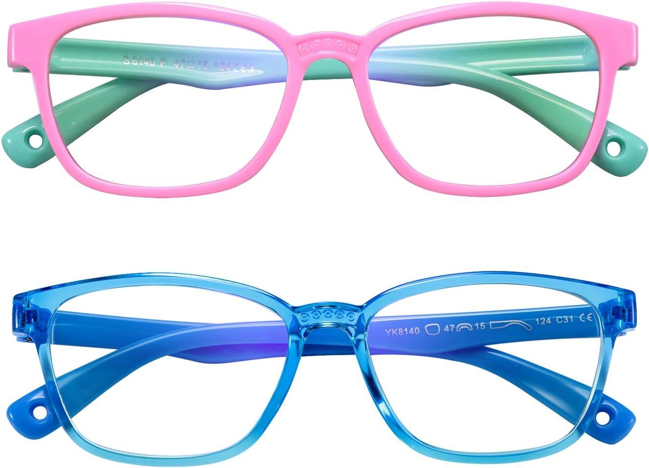 Kids Blue Light Blocking Glasses 2 Pack UV Protection Computer Gaming TV Phone Eyeglasses for Boys Girls Age 3-12