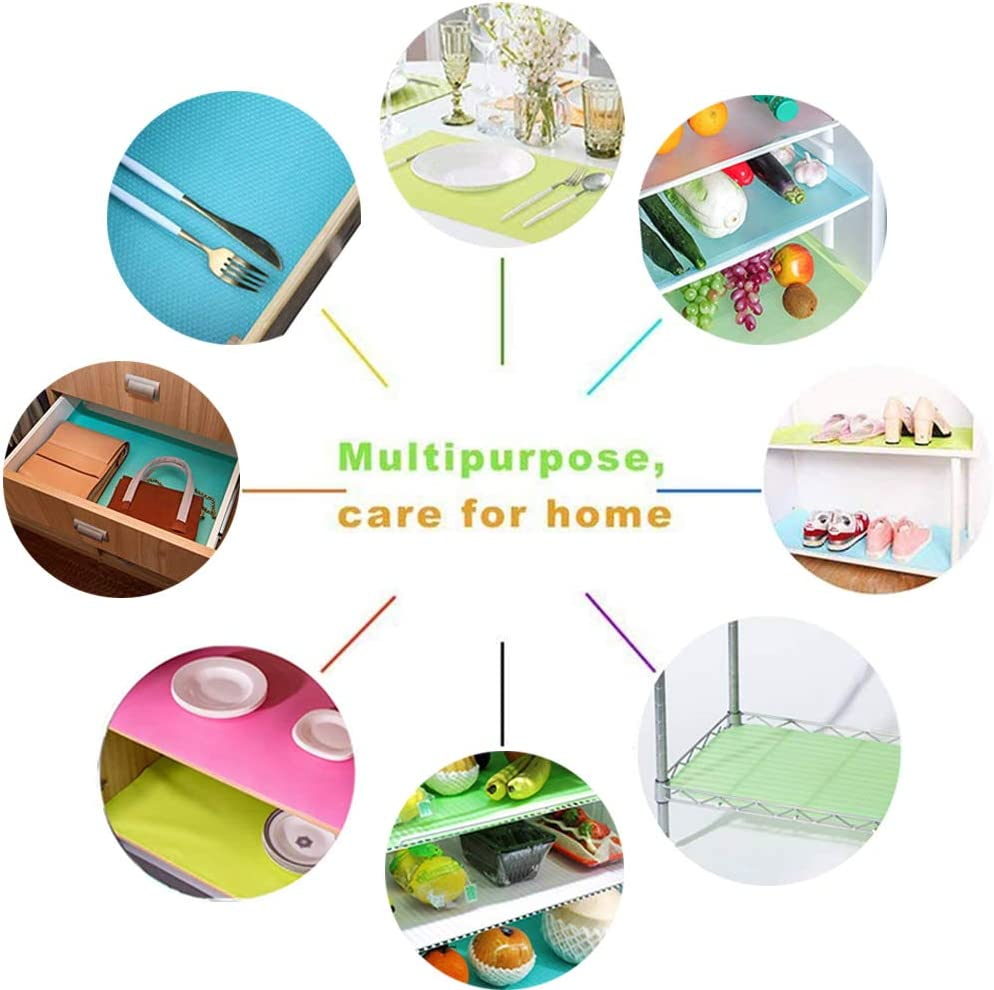 OJYUDD 9 Pcs Refrigerator Mats,Washable Fridge Mats Liners,Fridge Mats Pads for Drawers Shelves Cabinets Storage Kitchen and Placemats,3 Red//3 Green//3 Blue