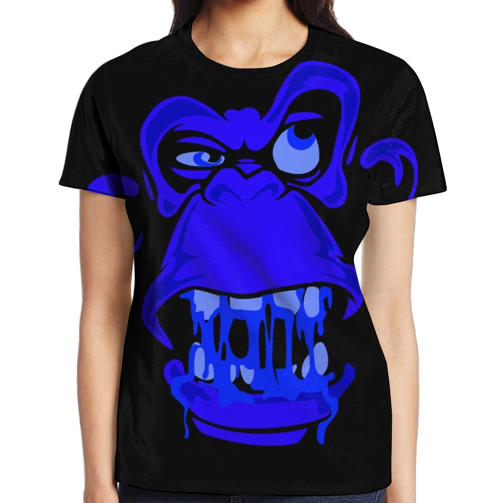 XIA WUEY Fierce Sasquatch Face Girl's Popular Graphic Tee Crew Neck Sports Tshirt by XIA WUEY