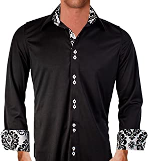 product image for Black with White Damask Moisture Wicking Designer Dress Shirt - Made in USA