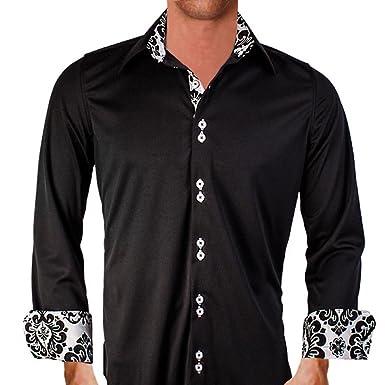 aae4770821b83f Black with White Damask Moisture Wicking Designer Dress Shirt - Made in USA  (XS Modern
