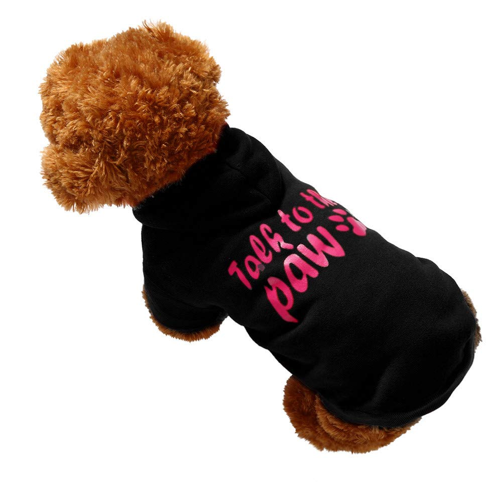 Pet Clothes Dog Pet Clothes Hoodie Warm Sweatshirts Puppy Coat Apparel Letter Print Costume Small Dogs Pet Clothes Vest T Shirt For Small Medium Dog Cat Puppy Rabbit Pig Warm Dog Outfits (Black, XS)