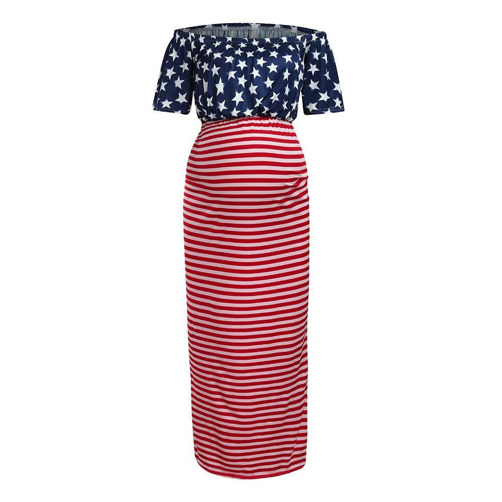 Huifa Women Maternity Sundress Off Shoulder American Flag 4th of July Pregnancy Dress (Red,XL)