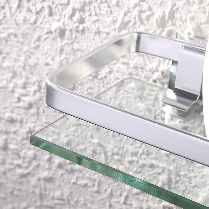KES Estanteria Baño Aluminio Vidrio Rectangular Montado en la Pared Templado Vidrio Extra Grueso Plata Arena Rociado A4126A: Amazon.es: Hogar