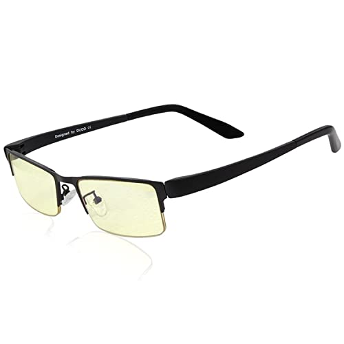 DUCO Anti Blue Light Glasses Video Gaming Computer Glasses with Amber Lens Tint and TR90 Temples GX090 (Black)