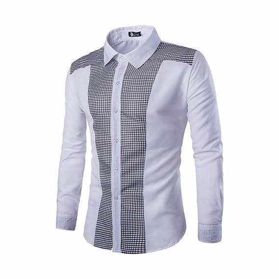 Modaworld _Camisas Hombre, Trajes Casuales de Manga Larga para Hombres Camisetas Ajustadas de Vestir de la Blusa Tops Camisa Formal Delgada con Botones: ...
