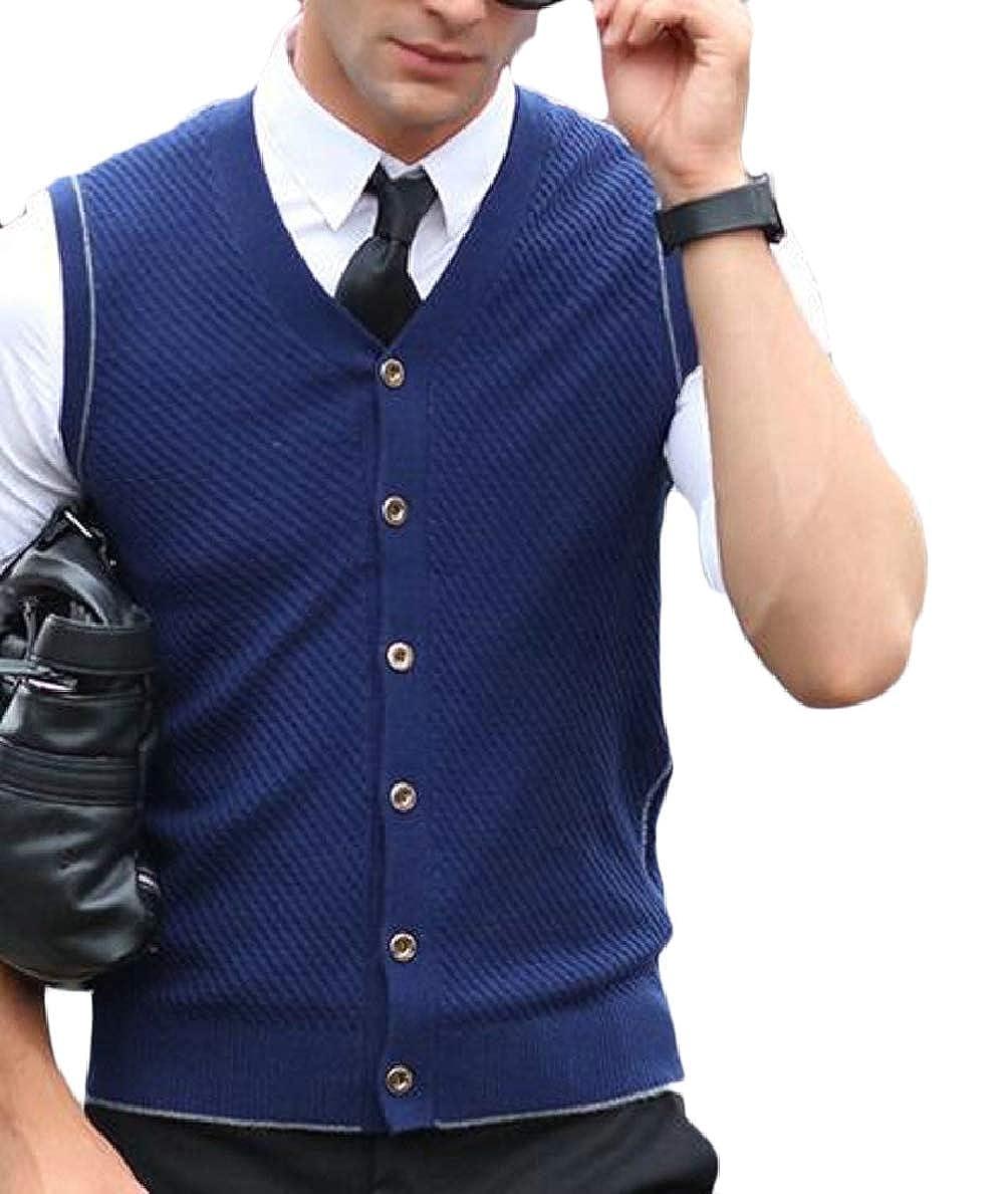 FLCH+YIGE Mens V-Neck Solid Vest Knitwear Sweater Waistcoat