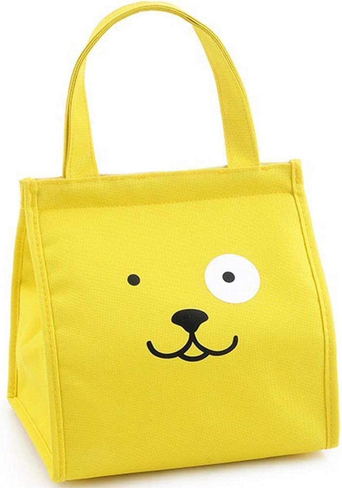 Insulation Bag Reusable Lunch Bags with Velcro & Inner Pocket WenDai Squared Handbag 9 X 9 Inch Keeps Food Hot or Cold Tote Bag Cooler Yellow Doggy