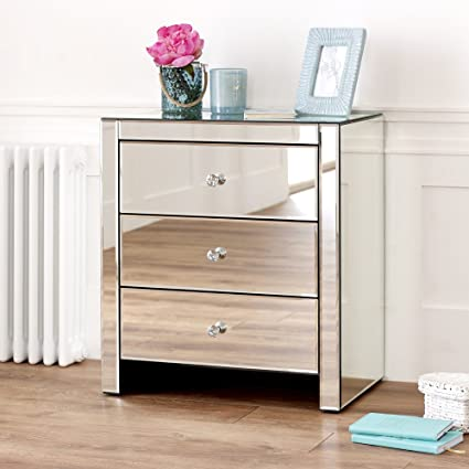 cheap for discount b25b1 0aa31 The Furniture Market Venetian Mirrored 3 Drawer Wide Bedside