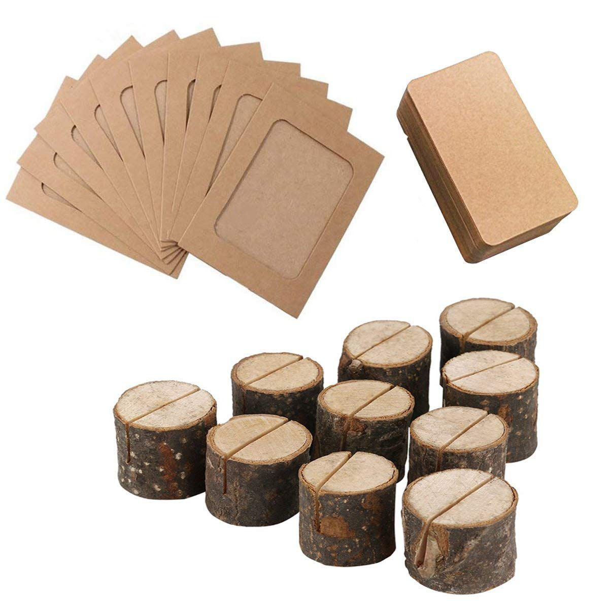 JINMURY 10Pcs Wood Table Numbers Holder Wooden Place Card Holder Rustic Party Wedding Table Name Card Holder and 10Blank Kraft Memo Business Card/10DIY Paper Photo Frame, Super Value Set (Brown)