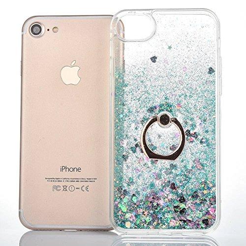 JAZ iPhone 7 Plus Case Quicksand Liquid - Ring Kickstand Ultra Thin Soft TPU Bumper Transparent Case Floating Bling Glitter Sparkle Heart Case for 5.5 iPhone 8 Plus/ 7Plus Heart Green