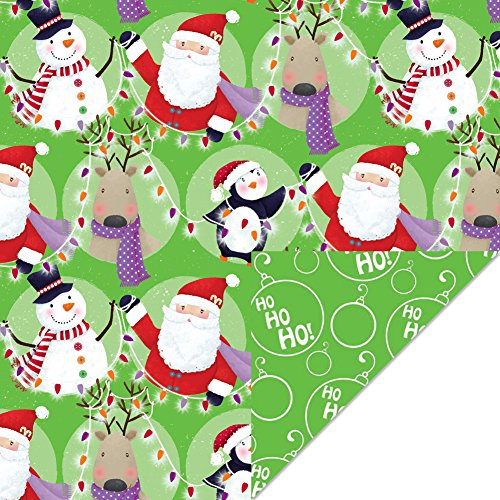 Premium Reversible Christmas Holiday Wrapping Paper Rolls - 3 Pack