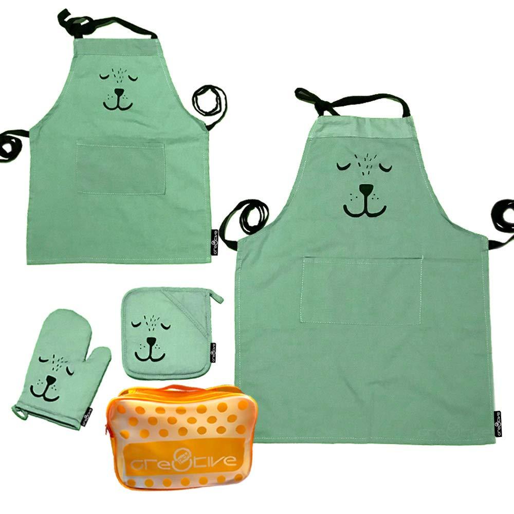 Cre8tivePick Cute Bear Apron For Adult & Child, Matching Apron + Oven Mitt + Pot Holder, Heat Resistant, Machine Washable, Kitchen Gift Set, Baking Gift Set, Parents and kids uniform set