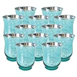 Just Artifacts Mercury Glass HurricaneVotiveCandle Holder 3.5'' H(12pcs,Speckled Aqua) - Mercury Glass Votive Tealight Candle Holders for Weddings, Parties and Home Décor