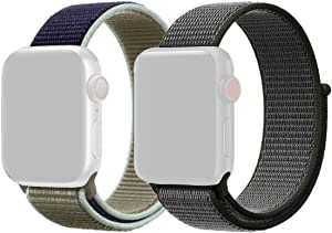 2 Pack Sport Loop for Apple Watch Bands (Bond Gray & Army Navy, 42/44mm)