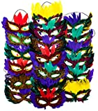 4Es-Novelty-1-Dozen-Fantasy-Feather-Masks-12-Assorted-Styles-Masquerade-Masks-for-Mardi-Gras-Party-Favors