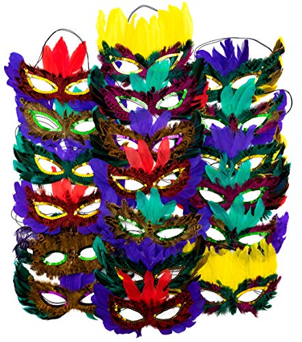 4E's Novelty 1 Dozen Fantasy Feather Masks 12 Assorted Styles, Masquerade Masks for Mardi Gras Party Favors -