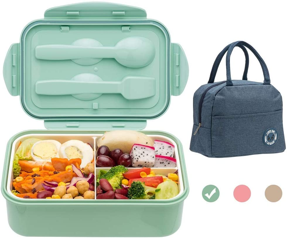 Bento Boxes for Adults, 1400 ML Bento Lunch Box For Kids Childrens With Utensils, Insulated Lunch Bag, Durable for On-the-Go Meal, BPA-Free and Food-Safe Materials(Green)