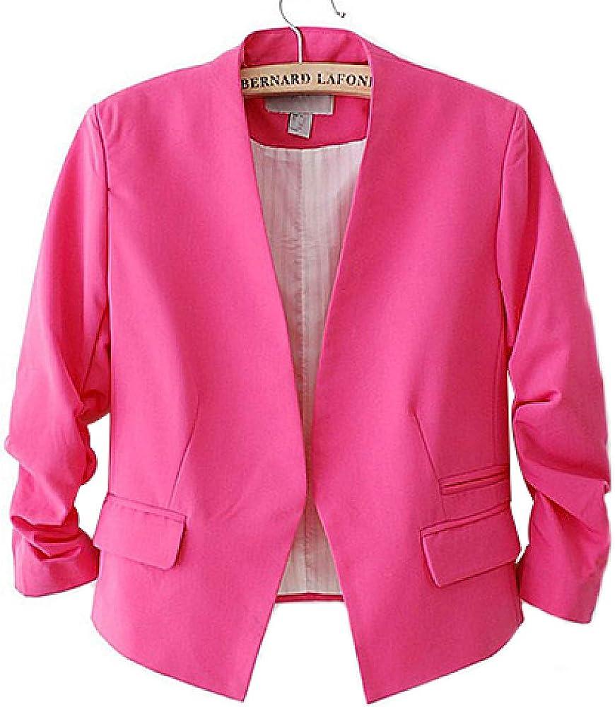 HOSD Fashion Womens Blazer Jacket Korea Style Candy Color Solid Slim Suit None Button