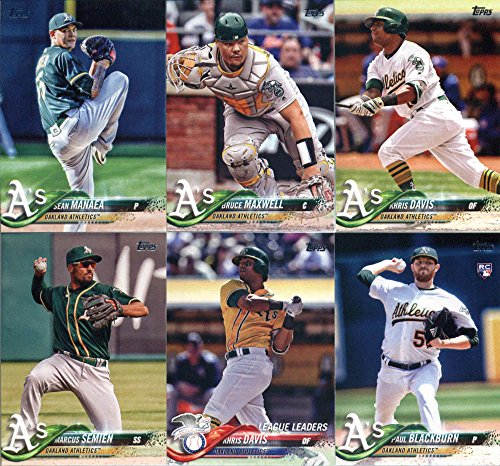 (2018 Topps Complete (Series 1, 2, Update) Oakland Athletics Team Set of 32 Cards: Daniel Coulombe(#16), Jed Lowrie(#69), Jharel Cotton(#106), Matt Joyce(#155), Khris Davis(#169), Marcus Semien(#198), Khris Davis(#218), Paul Blackburn(#272), Khris Davis(#325), Bruce Maxwell(#336), Sean Manaea(#342), Liam Hendriks(#367), Chad Pinder(#394), Matt Olson(#396), Santiago Casilla(#509), Oakland Athletics(#580), Franklin Barreto(#624), plus more)